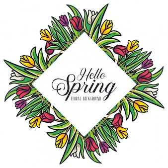Przywitaj wiosnę tulipany kwiatowy rama rombów tło