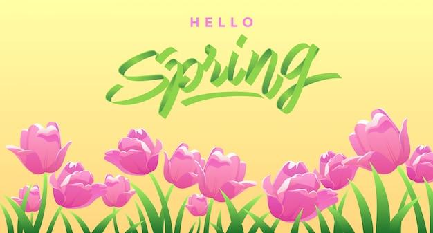 Przywitaj wiosnę z różowymi tulipanami i liśćmi