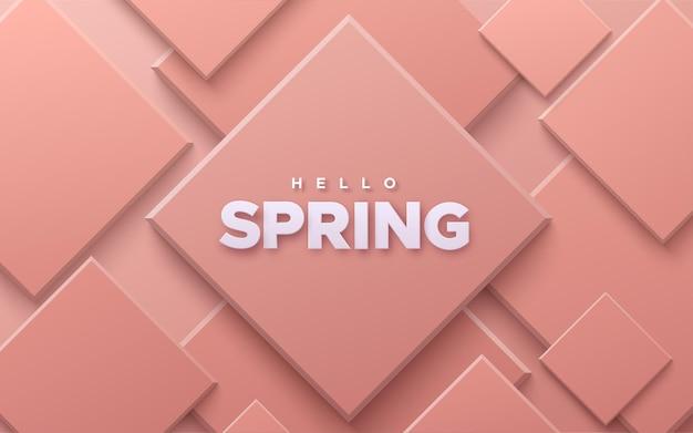 Przywitaj wiosnę znak na abstrakcyjnym tle z miękkimi różowymi geometrycznymi kształtami.