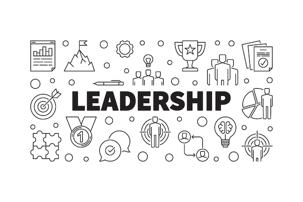 Przywódctwo kreatywnie horyzontalna kontur ilustracja