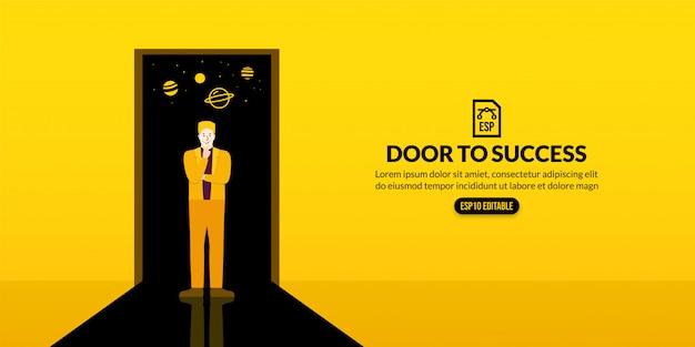 Przywództwo biznesmen stoi przed drzwiami do przestrzeni, koncepcja wyobraźni