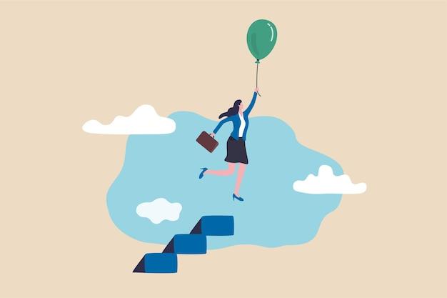 Przywództwo kobiety, aby przezwyciężyć walkę, siła kobiety, aby przełamać granice lub ograniczenia, koncepcja wolności i możliwości, sukces bizneswoman latający balonem ze szczytu drabiny lub schodów.