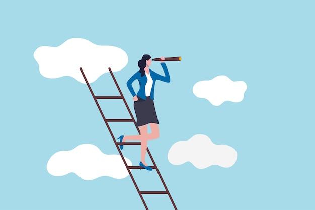 Przywództwo kobiety, nowy świat różnorodności kierowany przez koncepcję pani przywódczyni, pewna firma biznesowa lub lider kraju stojący na drabinie sukcesu, używając teleskopu do wizji przyszłości.