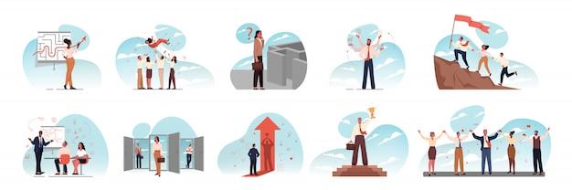 Przywództwo, zespół, wielozadaniowość, szkolenie, sukces, cel, spotkanie, biznes zestaw koncepcji