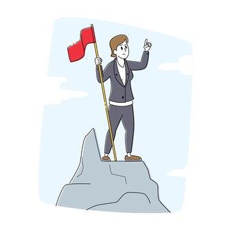 Przywództwo, zwycięzca, osiągnięcie celu wyzwania, koncepcja skutecznego menedżera. znana postać z czerwoną flagą na szczycie góry