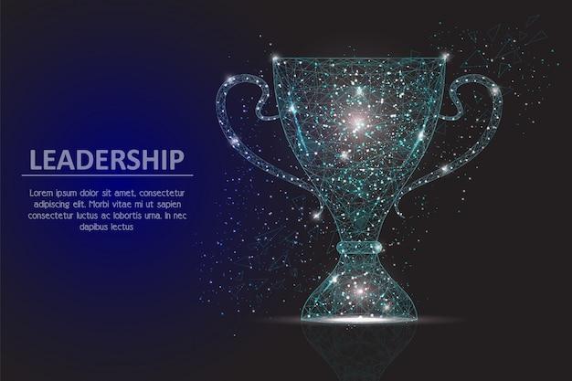 Przywództwo zwycięzca pucharu geometryczne wielokątne tło