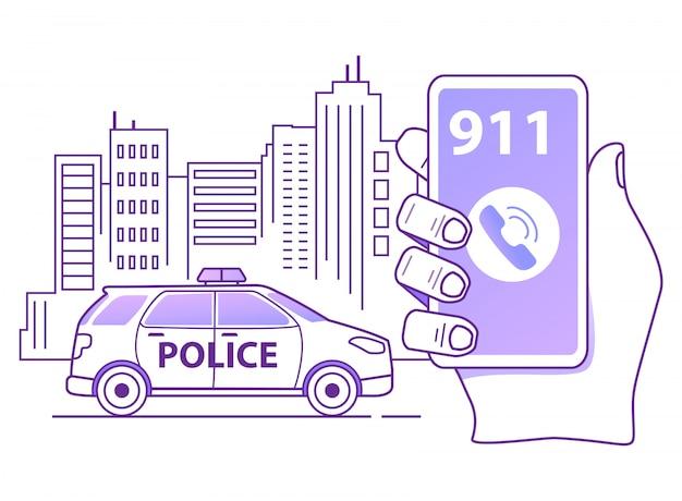 Przywołanie konspektu radiowozu policyjnego.
