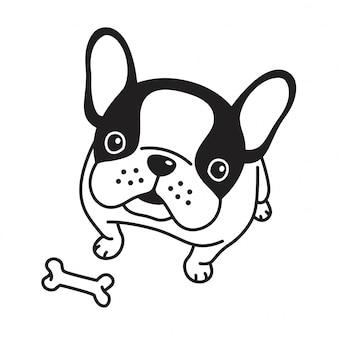 Psi wektorowy francuskiego buldoga kości szczeniak