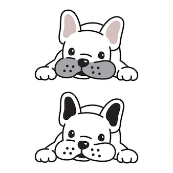 Psi wektorowy francuskiego buldoga szczeniaka postać z kreskówki
