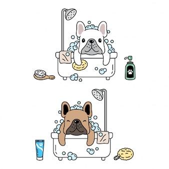 Psia charakteru francuskiego buldoga prysznic skąpania ikony kreskówki ilustracja