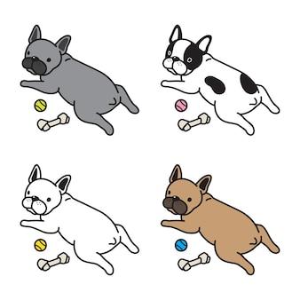 Psia wektorowa francuskiego buldoga kreskówka