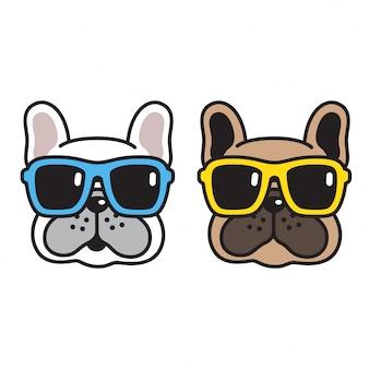 Psia wektorowa francuskiego buldoga okularów przeciwsłonecznych kreskówka