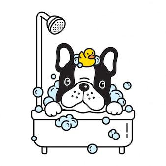 Psia wektorowa francuskiego buldoga prysznic skąpania kreskówka