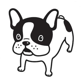 Psia wektorowa francuskiego buldoga szczeniaka kreskówka