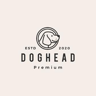 Psiej głowy modnisia rocznika loga ikony ilustracja