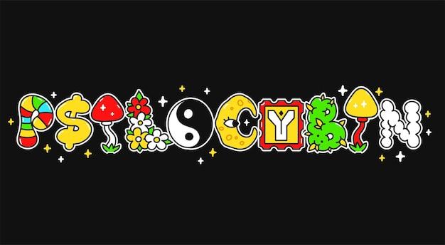 Psilocybinowe słowo, trippy psychodeliczne litery w stylu. wektor ręcznie rysowane doodle postać z kreskówki.