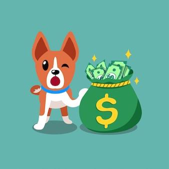 Psy basenji postać z kreskówki wektor z worka pieniędzy