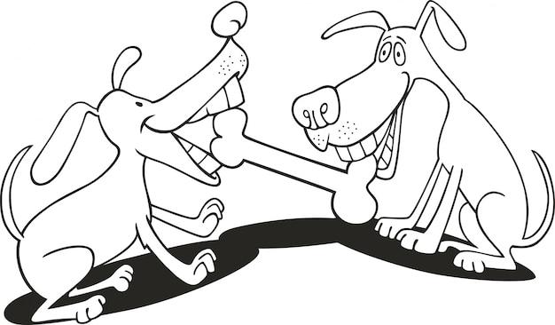 Psy bawiące się kością dla kolorowanka