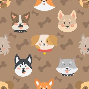 Psy głowy wektor wzór bezszwowe tło na białym tle.