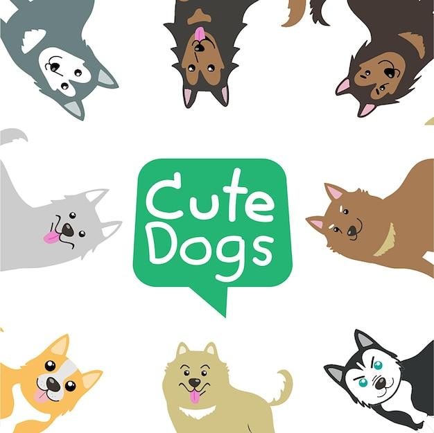 Psy ładny wektor zestaw zwierzaki