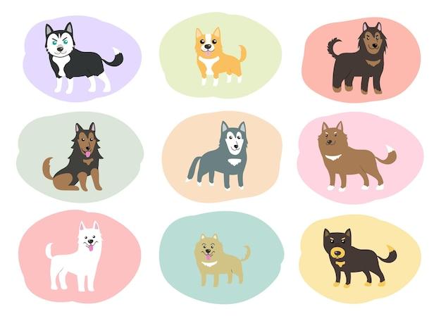 Psy ładny zestaw wektorowy
