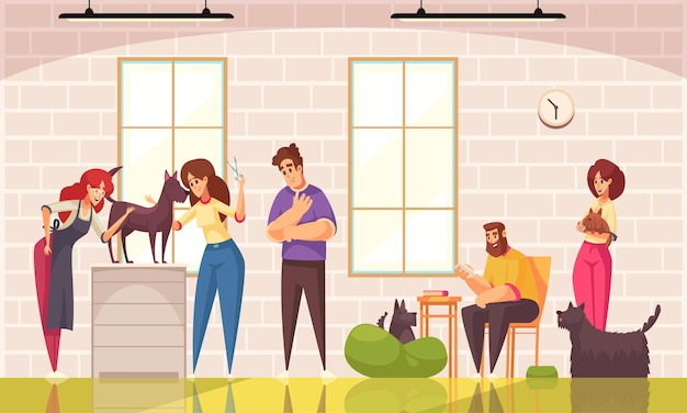 Psy pielęgnujące z symbolami salonu pielęgnacyjnego są płaskie