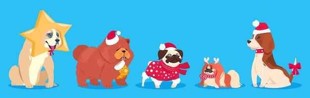 Psy świąteczne. zimowe zwierzęta wektorowe. słodkie psy kreskówek w czapce mikołaja, szalik z prezentami. kolekcja zwierząt domowych. pies wakacje boże narodzenie, obchody zimowego nowego roku ilustracja