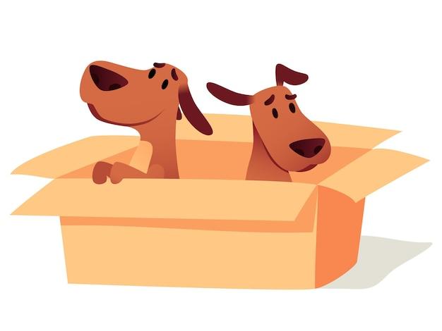 Psy w tekturowym pudełku czekają na właściciela, ilustracja adopcji. bezdomne śliczne szczenięta poszukujące nowego domu