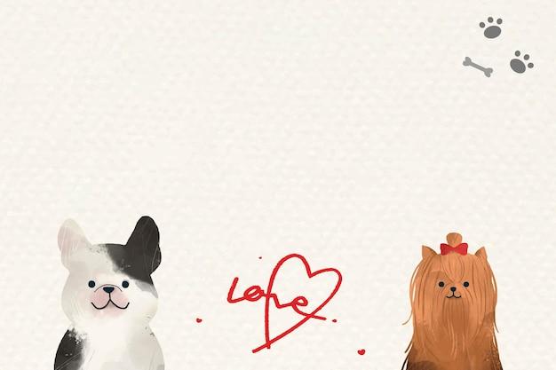 Psy w tle miłości z uroczymi ilustracjami
