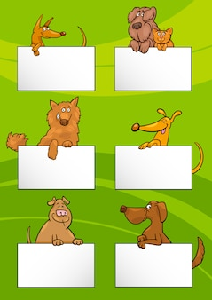 Psy z kartami kreskówka zestaw
