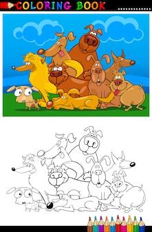 Psy z kreskówek do kolorowanka lub strony