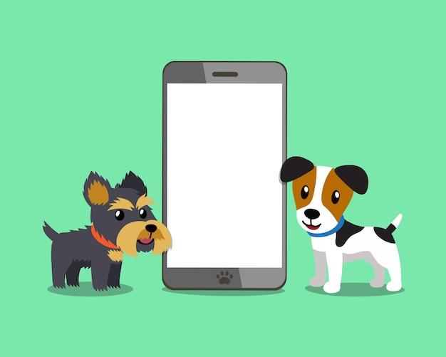 Psy ze smartfonem