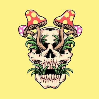 Psychedelic skull magic mushroom