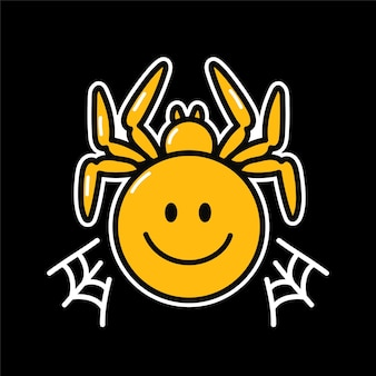 Psychodeliczna postać pająka z uśmiechem na twarzy