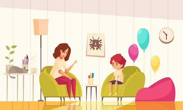 Psycholog dziecięcy we wnętrzu biura z ilustracją balonów