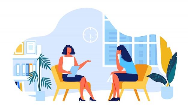 Psycholog komunikuje się z klientem. wektor.