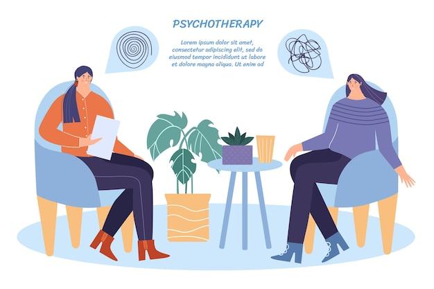 Psycholog pomaga kobiecie radzić sobie ze stresem. ilustracja z miejscem na tekst.
