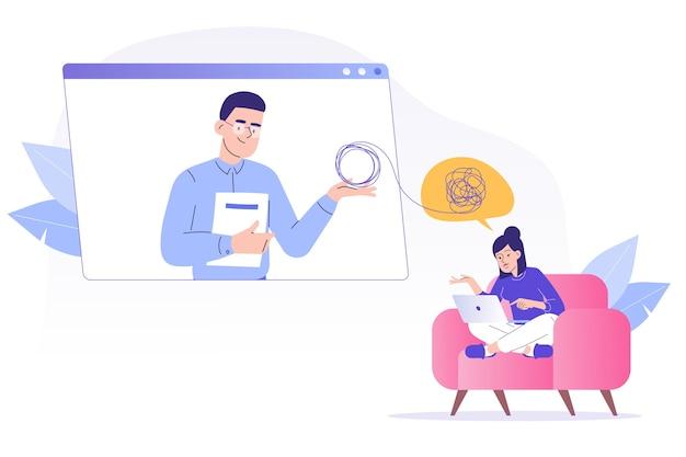 Psycholog pomaga pacjentowi przez połączenie wideo