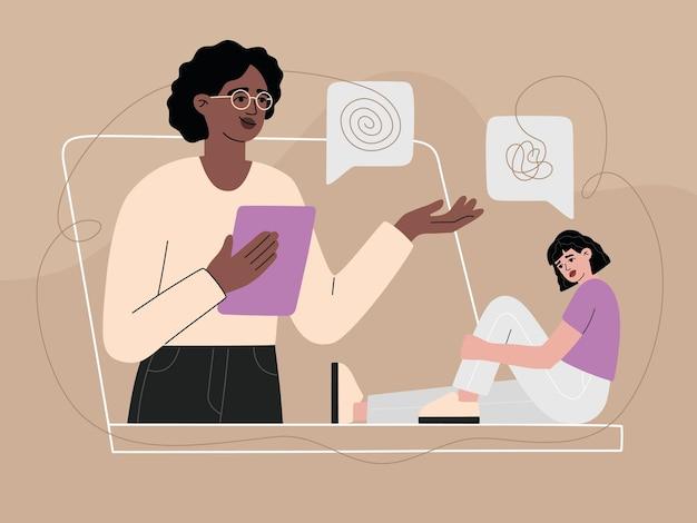 Psycholog pomaga pacjentowi przez wideorozmowę online, konsultacje ze smutną kobietą w depresji. dziewczyna z problemem rozmawia z psychoanalitykiem, infolinią. nowoczesna ilustracja wektorowa