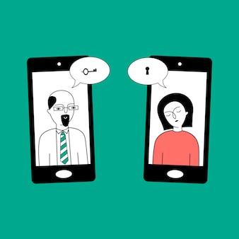 Psycholog prowadzi terapię z pacjentem przez telefon.