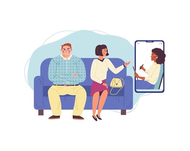 Psycholog rodzinny przeprowadza sesję online z kłócącym się małżeństwem