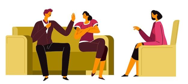 Psycholog zajmujący się problemami pary na poradnictwie. terapia rodzinna żony i męża rozwiązująca problemy w związku. rozmowa z terapeutą, spotkanie w biurze, wektor w mieszkaniu