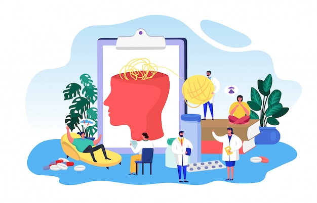 Psychologia choroby psychicznej, kreskówek malutkich doktorów pracujących z pacjentem, sprawdź zdrowie mózgu na białym tle