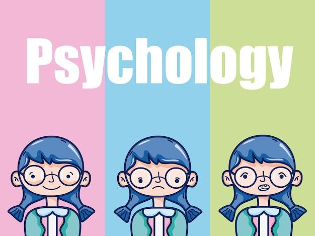 Psychologia dla dziewczyna dzieciaka kreskówki nad kolorowego tła wektorowym ilustracyjnym graficznym projektem