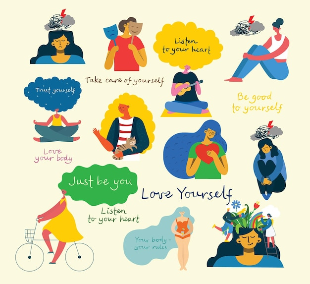 Psychologia i zdrowie psychiczne. zestaw ikon wektorowych psychologii, mózgu i zdrowia psychicznego. doodle ilustracji wektorowych płaski styl.