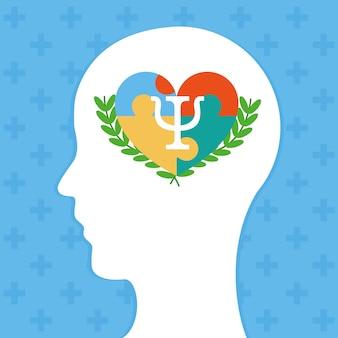 Psychologia ilustracja z ikoną głowy