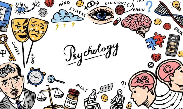 Psychologia nauka tło psycholog online clew i dna ręcznie rysowane szkic plakat transparent