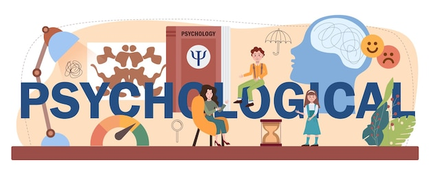 Psychologiczny nagłówek typograficzny. studia na kursie zdrowia psychicznego i emocjonalnego. psycholog szkolny poradnictwo dla dzieci i rodziców. płaska ilustracja wektorowa