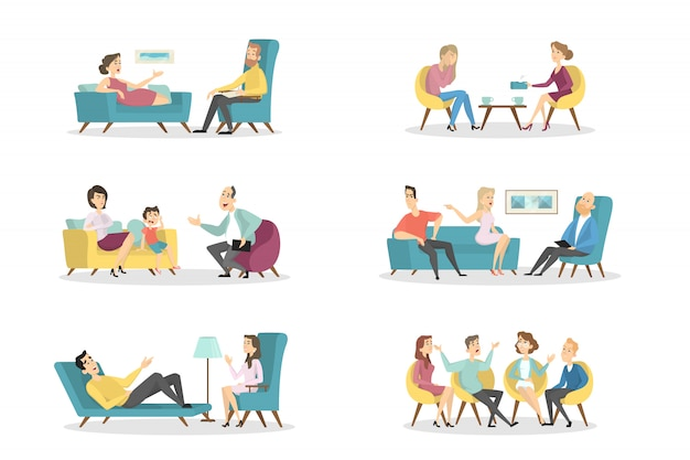 Psychologowie z pacjentami na białym tle.