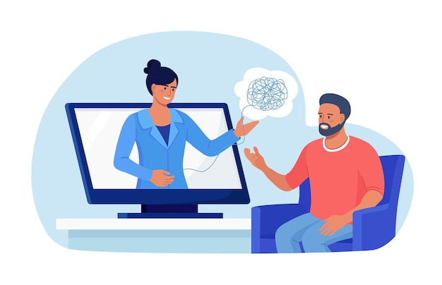 Psychoterapia online. lekarz psycholog pomaga pacjentowi rozwikłać splątane myśli. problemy psychologiczne, zaburzenia psychiczne, leczenie stresu, uzależnienia. poradnictwo psychologiczne